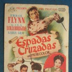 Flyers Publicitaires de films Anciens: PROGRAMA DE MANO . ESPADAS CRUZADAS , CON PUBLICIDAD . ( VER FOTO ADICIONAL ). . Lote 44967445