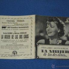 Cine: PROGRAMA DOBLE - LA MUJER DE LAS DOS CARAS - PUBLICIDAD CINEMA RABIDA. Lote 44970387