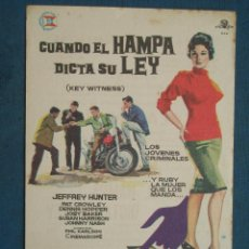 Flyers Publicitaires de films Anciens: PROGRAMA DE MANO . CUANDO EL HAMPA DICTA SU LEY , CON PUBLICIDAD , CINE DE MATARÓ - ( VER FOTO ). . Lote 44992627