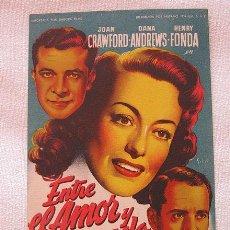 Cine: ENTRE EL AMOR Y EL PECADO FOLLETO DE MANO CINE SOLIGO. Lote 44999144