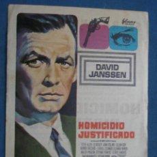 Flyers Publicitaires de films Anciens: PROGRAMA DE MANO . HOMICIDIO JUSTIFICADO . CON PUBLICIDAD .( VER FOTO ADICIONAL ). . Lote 44999680