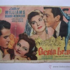 Cine: ANTIGUO FOLLETO MANO PROGRAMA FIESTA BRAVA CINEMA INIESTA ELCHE, AÑOS 40/50. Lote 45000218