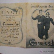 Cine: ENAMORADOS FOLLETO DE MANO DOBLE ORIGINAL ESTRENO CON CINE IMPRESO. Lote 45010469
