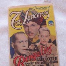 Cine: TRES LANCEROS BENGALIES PROGRAMA DE MANO GARY COOPER. Lote 45019016