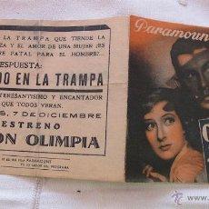 Cine: PROGRAMA DE MANO COGIDO EN LA TRAMPA DOBLE ESTRENO. Lote 45019166