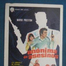 Flyers Publicitaires de films Anciens: PROGRAMA DE MANO . ANONIMA DE ASESINOS . CON PUBLICIDAD .( VER FOTO ADICIONAL ). . Lote 45028845
