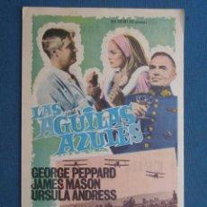 Folhetos de mão de filmes antigos de cinema: PROGRAMA CINE . LAS AGUILAS AZULES , CON PUBLICIDAD , CINE DE MATARÓ - VER FOTO ).. Lote 195258997