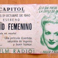 Cine: ARDID FEMENINO - PELICULA DE 1938 - GINGERS ROGERS Y JAMES STEWART - CON PUBLICIDAD. Lote 14409437