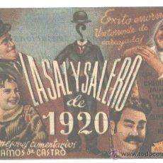 Cine: FOLLETO DE CINE LA SAL Y EL SALERO ESTRENO CP. Lote 45031081