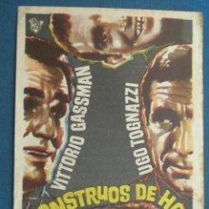 Folhetos de mão de filmes antigos de cinema: PROGRAMA DE MANO . MONSTRUOS DE HOY . CON PUBLICIDAD .( VER FOTO ADICIONAL ). . Lote 45035144