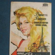 Folhetos de mão de filmes antigos de cinema: PROGRAMA DE MANO . UNA PARISINA , CON PUBLICIDAD . ( VER FOTO ADICIONAL ). . Lote 45035524