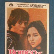 Folhetos de mão de filmes antigos de cinema: PROGRAMA DE MANO . ROMEO Y JULIETA , SIN PUBLICIDAD . . Lote 45046845