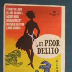 Cine: PROGRAMA CINE . EL PEOR DELITO , CON PUBLICIDAD , CINE DE MATARÓ - VER FOTO ). . Lote 45046963