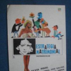 Cine: PROGRAMA DE MANO . ESTRATEGIA MATRIMONIAL . SIN PUBLICIDAD .. Lote 45060506