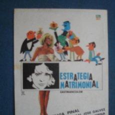 Cine: PROGRAMA DE MANO . ESTRATEGIA MATRIMONIAL . SIN PUBLICIDAD .. Lote 45060714