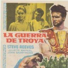 Foglietti di film di film antichi di cinema: LA GUERRA DE TROYA. SENCILLO DE MUNDIAL FILMS. CINE ALAMEDA - SAN FERNANDO.. Lote 45112220
