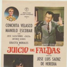 Folhetos de mão de filmes antigos de cinema: JUICIO DE FALDAS. SENCILLO DE REGIA FILMS.. Lote 45116085