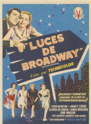 LUCES DE BROADWAY. SENCILLO DE VICTORY FILMS. (Cine - Folletos de Mano - Musicales)