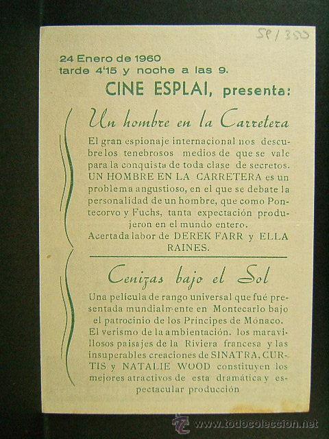 Cine: CENIZAS BAJO EL SOL-DELMER DAVES-FRANK SINATRA-TONY CURTIS-NATALIE WOOD-CINE ESPLAI-CINEMA-1960 - Foto 2 - 45215966