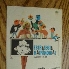 Cine: PROGRAMA DE MANO . ESTRATEGIA MATRIMONIAL . SIN PUBLICIDAD . . Lote 45252829