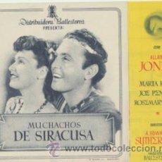 Cine: MUCHACHOS DE SIRACUSA. DOBLE DE BALLESTEROS. CINE MARI - LEÓN 1946. ¡IMPECABLE!. Lote 45283068