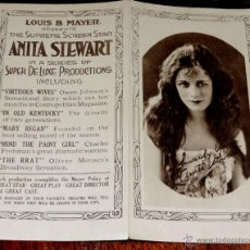 Cine: ANTIGUO PROGRAMA DE ANITA STEWART, IN A SERIES OF SUPER DE LUXE PRODUCTIONS INCLUDING VIRTUOUS WIVES. Lote 45289404