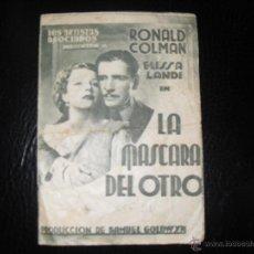 Cine: FOLLETO MANO 1934 LA MASCARA DEL OTRO. Lote 45374170