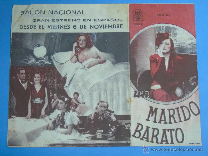 PROGRAMA DE MANO. CINE. PELÍCULA. MARIDO BARATO. DOBLE. PUBLICIDAD SALÓN NACIONAL (Cine - Folletos de Mano - Comedia)