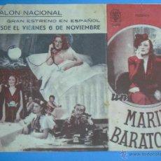Cine: PROGRAMA DE MANO. CINE. PELÍCULA. MARIDO BARATO. DOBLE. PUBLICIDAD SALÓN NACIONAL. Lote 45507180
