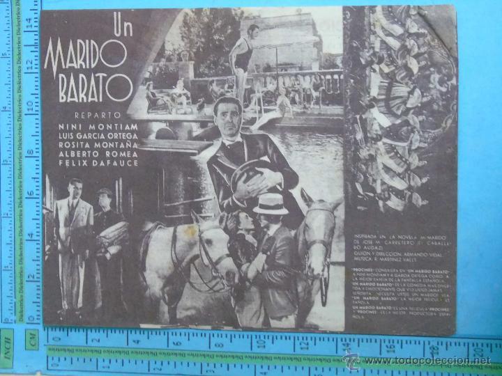 Cine: PROGRAMA DE MANO. CINE. PELÍCULA. MARIDO BARATO. DOBLE. PUBLICIDAD SALÓN NACIONAL - Foto 2 - 45507180