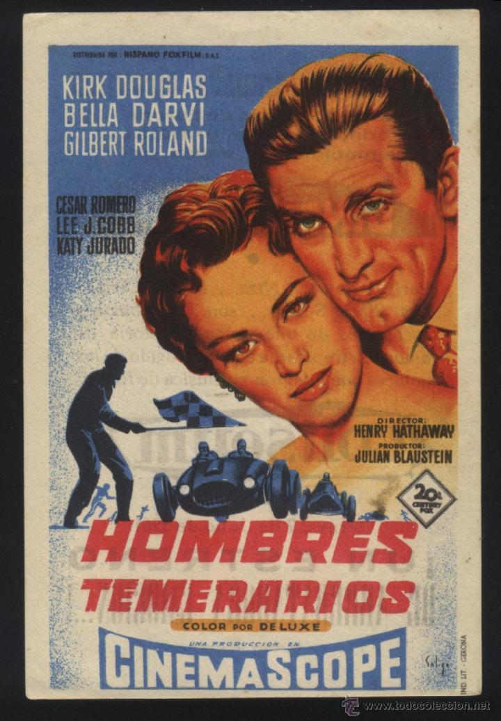 P-4411- HOMBRES TEMERARIOS (SOLIGÓ) (CINE COLISEUM - SANTANDER) (KIRK DOUGLAS - BELLA DARVI) (Cine - Folletos de Mano - Deportes)