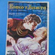 Cine: PROGRAMA DE MANO. CINE. ROMEO Y JULIETA, CINE ALKÁZAR 1956. PUBLICIDAD. Lote 45678076