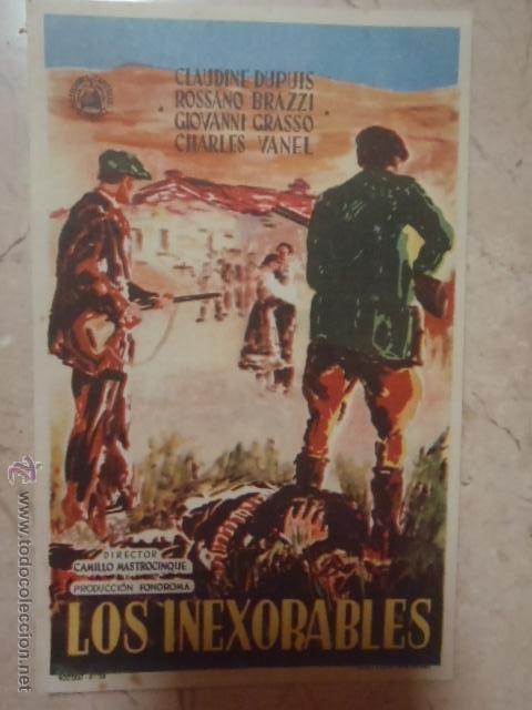 FOLLETO DE MANO LOS INEXORABLES.SP. (Cine - Folletos de Mano - Bélicas)