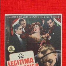 Cine: EN LEGITIMA DEFENSA, IMPECABLE SENCILLO, LOUIS JOUNET SIMONE VENANT, CON PUBLICIDAD MONTERROSA. Lote 45775938