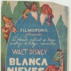Cine: BLANCA NIEVES Y LOS SIETE ENANITOS. SENCILLO DE FILMÓFONO. CINE DORADO.. Lote 45895720