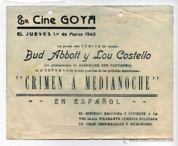 Cine: CRIMEN A MEDIANOCHE, con Bud Abbott y Lou Costello. - Foto 2 - 45955065