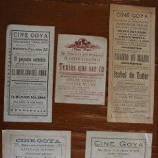 Cine: LOTE DE 5 ANTIGUOS PROGRAMAS FOLLETOS DE MANO DE PELICULAS EN EL CINE GOYA DE MALAGA DE LOS AÑOS 50. Lote 46050607