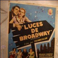 Cine: ANTIGUO FOLLETO CINE PELICULA LUCES DE BROADWAY.- PROYECTADA EN ELCHE, AÑOS 40. Lote 31966397
