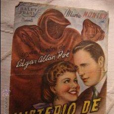 Cine: ANTIGUO FOLLETO CINE PELICULA MISTERIO DE MARIA ROGET.- PROYECTADA EN ELCHE, AÑOS 40. Lote 31966401