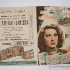 Cine: ANTIGUO FOLLETO DOBLE Y ORIGINAL EL CAPITAN TORMENTA, PROYECTADA EN ELCHE, AÑOS 40/50. Lote 46221114