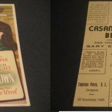 Cine: CASANOVA BROWN. GARY COOPER. CINE GOYA, ZARAGOZA. Lote 46357249
