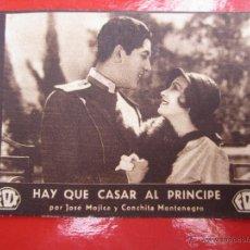 Cine: HAY QUE CASAR AL PRINCIPE , JOSE MOJICA, CONCHITA MONTENEGRO , CINE IDEAL , BENIFAIRO DE LES VALLS. Lote 46419993