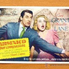 Cine: ARSÉNICO POR COMPASIÓN - CARY GRANT Y PRISCILLA LANE - AÑO 1944 - CON PUBLICIDAD. Lote 46459073