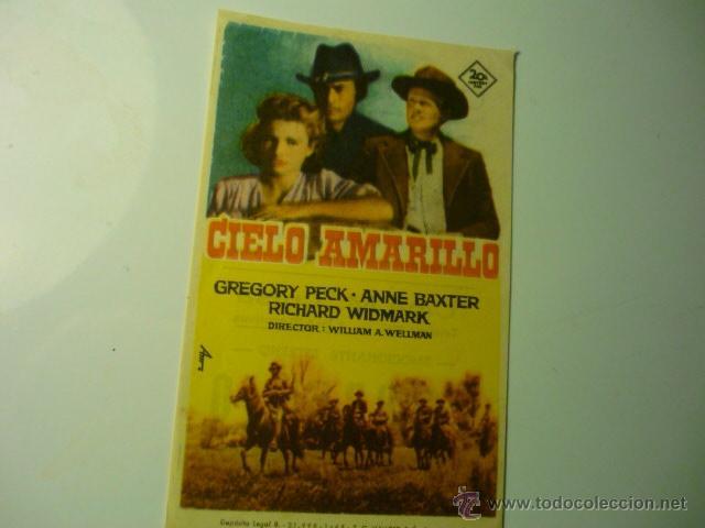 PROGRAMA MODERNO DE IMPRENTA CIELO AMARILLO .-- GREGORY PECK-- (Cine - Folletos de Mano - Westerns)