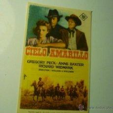 Foglietti di film di film antichi di cinema: PROGRAMA CIELO AMARILLO .-- GREGORY PECK--PUBLICIDAD CINE LICEO.- MERIDA???. Lote 46492887