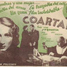 Cine: COARTADA AÑOS 30 SIN PUBLICIDAD. Lote 46529116