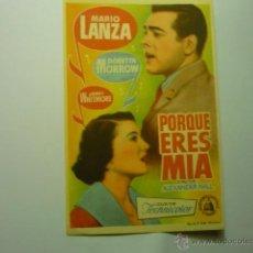 Cinema - programa porque eres mia .-mario lanza - 46533345