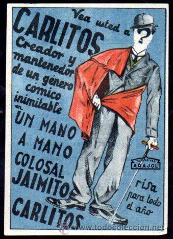 PROGRAMA DE CINE CARLITOS. UN MANO A MANO COLOSAL, JAIMITO CARLITOS. C/P. (Cine - Folletos de Mano - Comedia)