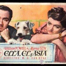 Cine: PROGRAMA DE CINE ELLA, EL Y ASTA. WILLIAM POWELL Y MYRNA LOY. 1945, C/P. Lote 46623395
