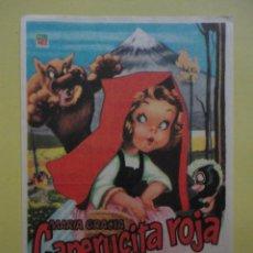 Flyers Publicitaires de films Anciens: CAPERUCITA ROJA. PUBLICIDAD CINE CARVAJAL.. Lote 46679437